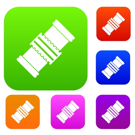motorizado: Repair detail set icon color in flat style isolated on white. Collection sings vector illustration Vectores