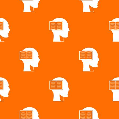 Head with open book pattern repeat seamless in orange color for any design. Vector geometric illustration