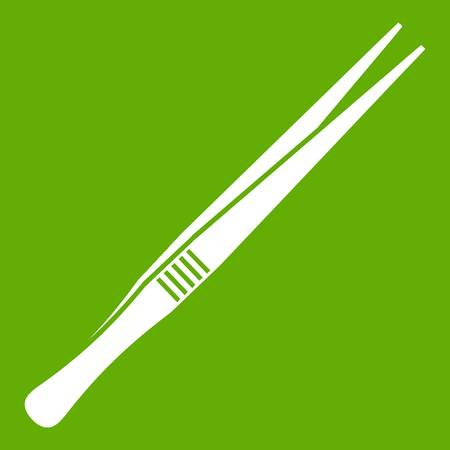 Tweezers icon white isolated on green background. Vector illustration
