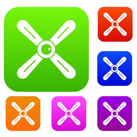 Propeller set icon color in flat style isolated on white. Collection sings vector illustration