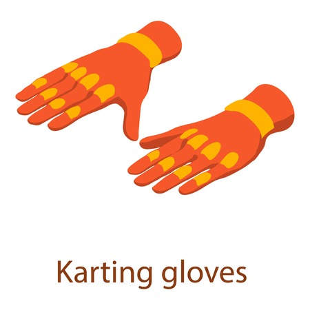 Karting gloves icon. Isometric illustration of karting gloves vector icon for web