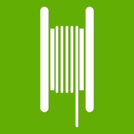 Electric cable in coil icon white isolated on green background. Vector illustration