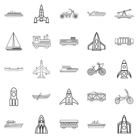 Civilian vehicle icons set. Outline set of 25 civilian vehicle vector icons for web isolated on white background Çizim