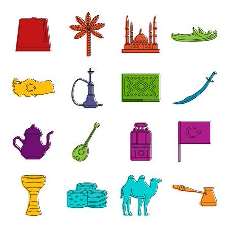 Turkey travel icons set. Doodle illustration of vector icons isolated on white background for any web design