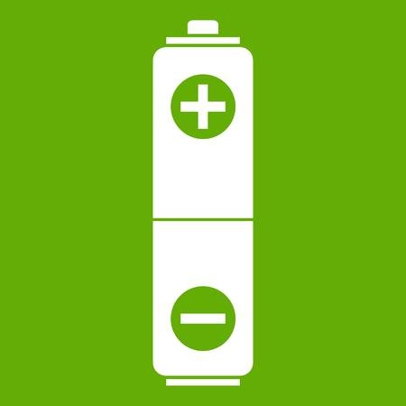 Battery icon white isolated on green background. Vector illustration Illustration