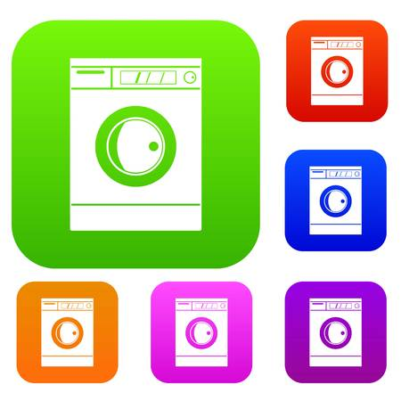 Washing machine set icon color in flat style isolated on white. Collection sings vector illustration
