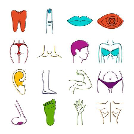 Body parts icons set. Doodle illustration of vector icons isolated on white background for any web design