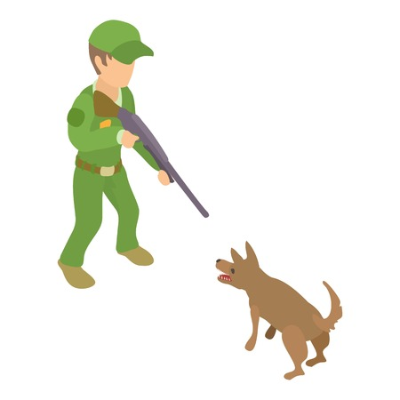 Dog catcher character icon. Isometric illustration of dog catcher character vector icon for web