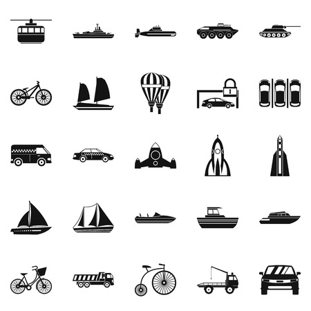 Delivery by transport icons set. Simple set of 25 delivery by transport vector icons for web isolated on white background