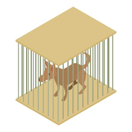 Dog cage icon. Isometric illustration of dog cage vector icon for web Illustration