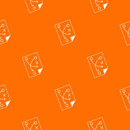 Soccer strategy pattern repeat seamless in orange color for any design. Vector geometric illustration