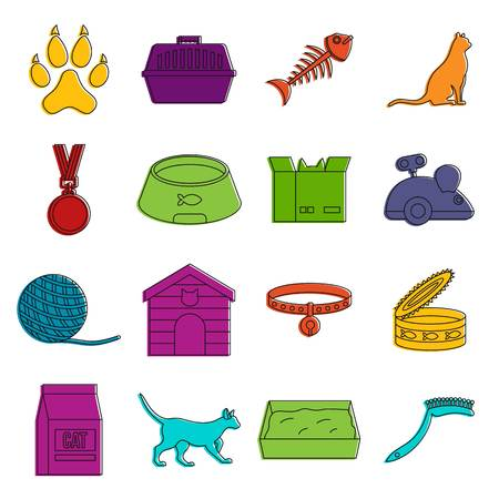 Cat care tools icons doodle set Illustration