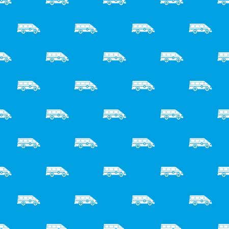 Ambulance emergency van pattern repeat seamless in blue color for any design. Vector geometric illustration Illustration