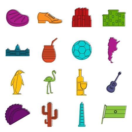 Argentina travel items icons set. Doodle illustration of vector icons isolated on white background for any web design
