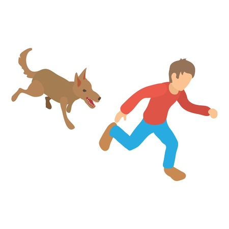 Angry dog icon. Isometric illustration of angry dog vector icon for web