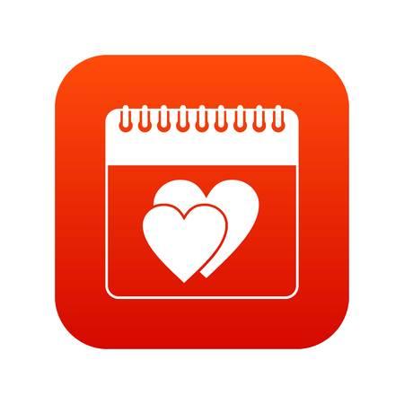 Wedding date day on calendar icon digital red