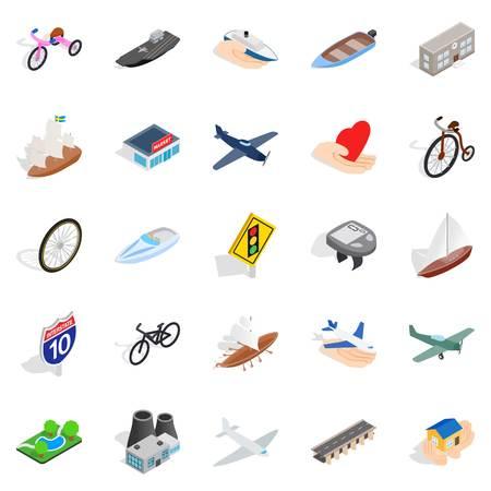Locomotion icons set, isometric style Illustration