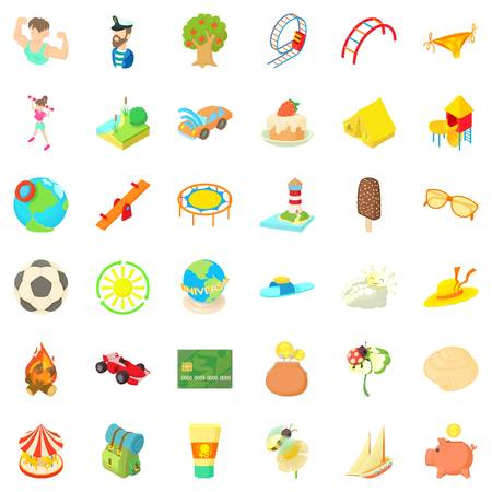 tree log: Football icons set, cartoon style