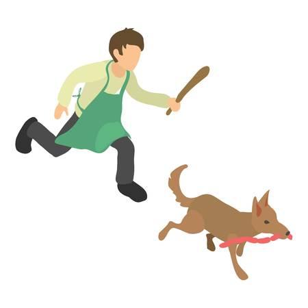 Dog thief icon, isometric 3d style