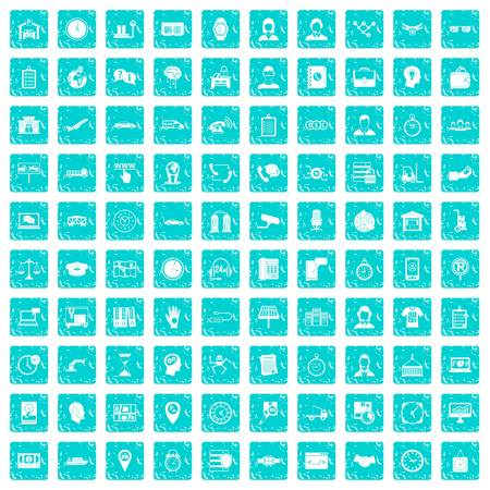 100 working hours icons set in grunge style blue color isolated on white background vector illustration Illustration