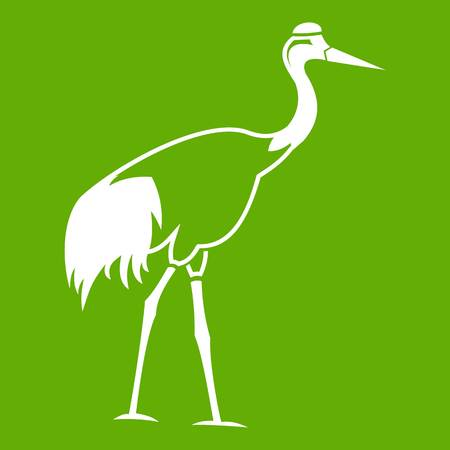 Stork icon white isolated on green background. Vector illustration