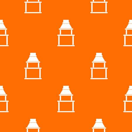 BBQ grill pattern repeat seamless in orange color for any design. Vector geometric illustration