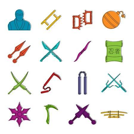 Ninja tools icons doodle set