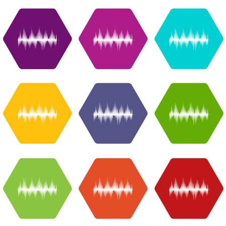Audio digital equalizer technology icon set color hexahedron