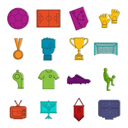 Soccer football icons set. Doodle illustration of vector icons isolated on white background for any web design
