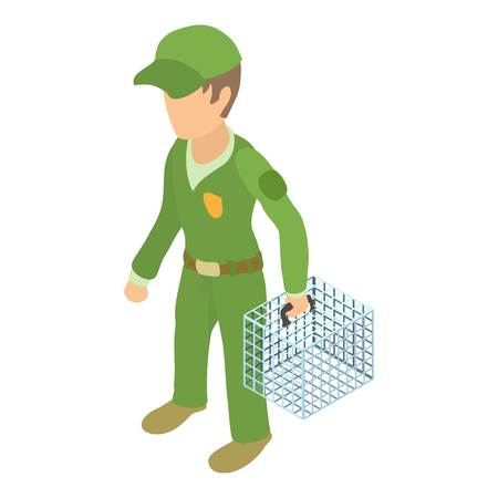 Dog catcher icon. Isometric illustration of dog catcher vector icon for web