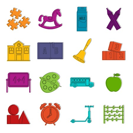 Kindergarten symbol icons set. Doodle illustration of vector icons isolated on white background for any web design