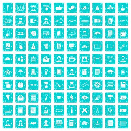 100 writer icons set in grunge style blue color isolated on white background vector illustration
