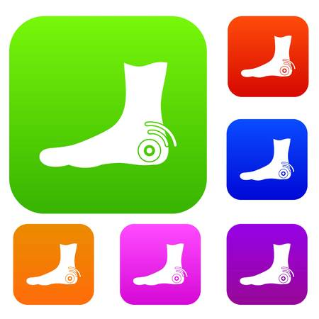 Foot heel set icon color in flat style isolated on white. Collection sings vector illustration