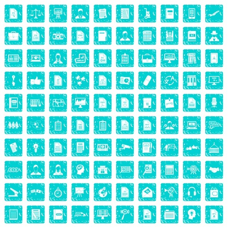 100 work paper icons set in grunge style blue color isolated on white background vector illustration 일러스트