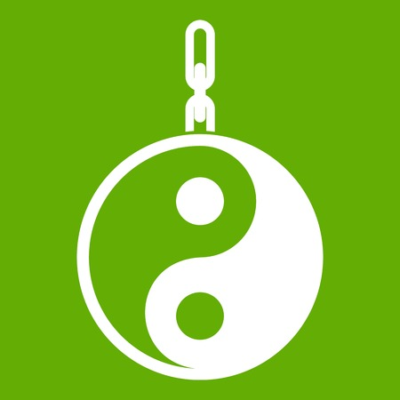 Sign yin yang icon white isolated on green background. Vector illustration Illustration