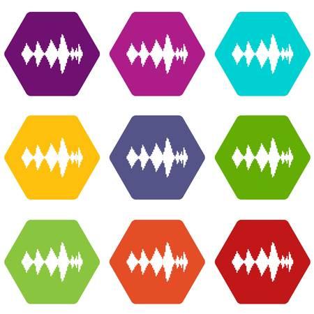 soundtrack: Audio digital equalizer technology icon set many color hexahedron isolated on white vector illustration