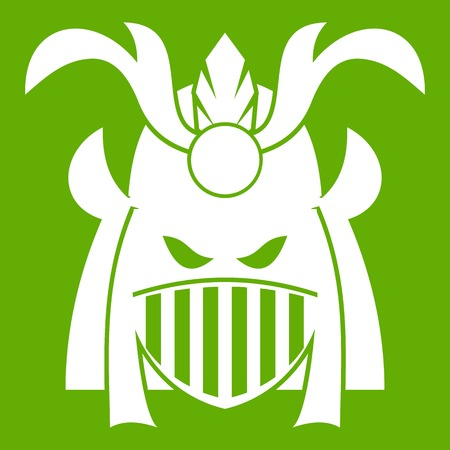 ritual: Tribal helmet icon white isolated on green background. Vector illustration