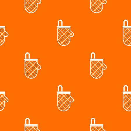 Kitchen protective glove pattern repeat seamless in orange color for any design. Vector geometric illustration