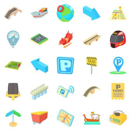 Building a route icons set. Cartoon set of 25 building a route vector icons for web isolated on white background
