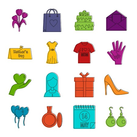 Mothers day icons set. Doodle illustration of vector icons isolated on white background for any web design