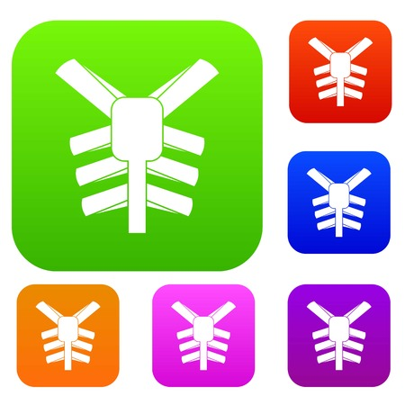 Human thorax set icon color in flat style isolated on white. Collection sings vector illustration
