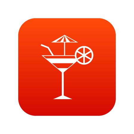 Fruit cocktail icon digital red for any design isolated on white vector illustration Illustration