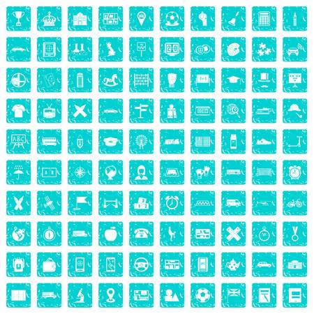 100 bus icons set in grunge style blue color isolated on white background vector illustration
