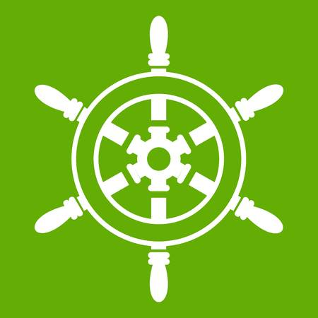 Wheel of ship icon white isolated on green background. Vector illustration Illustration