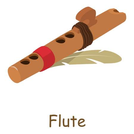 woodwind: Flute icon. Isometric illustration of flute vector icon for web Illustration