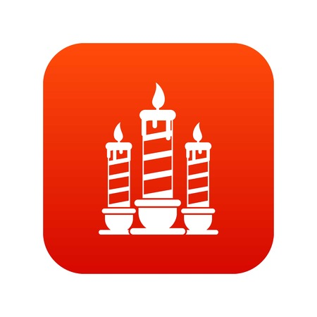 Festive candles icon digital red for any design isolated on white vector illustration Illustration