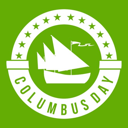 Columbus Day icon white isolated on green background. Vector illustration Illustration