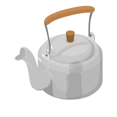 chinese food container: Kettle metal icon. Isometric illustration of kettle metal vector icon for web
