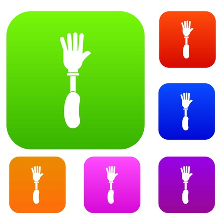 Prosthesis hand set icon color in flat style isolated on white. Collection sings vector illustration