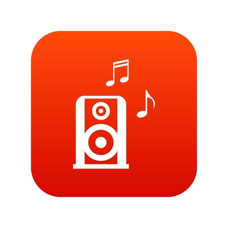 Portable music speacker icon digital red for any design isolated on white vector illustration